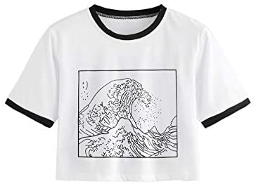 Women's Short Sleeve Top Embroidery Wave Print Crop Tee Shirt