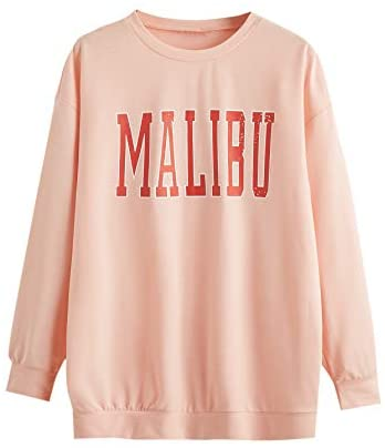 Women's Oversized Crewneck Letter Print Graphic Pullover Dress Sweatshirt