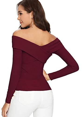 Women's Sexy Off Shoulder Long Sleeve T-Shirt Cross Wrap Ribbed Knit Tops