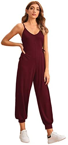 Women's Casual V Neck Sleeveless Tie Side Harem Leg Cami Jumpsuit