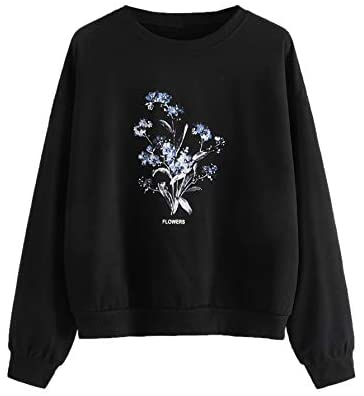 Women's Casual Floral Letter Print Long Sleeve Loose Sweatshirt Pullover