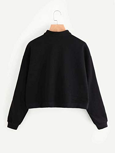Women's Zip Front High Neck Tape Striped Detail Crop Sweatshirt