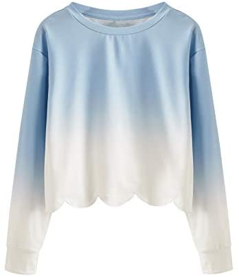 Women's Casual Tie Dye Long Sleeve Scalloped Hem Crop Tops Sweatshirt Blue and White M