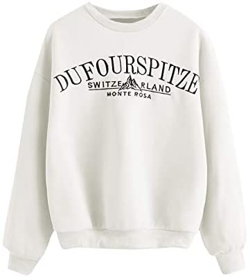 Women's Drop Shoulder Crew Neck Letter Print Embroidery Pullover Sweatshirt