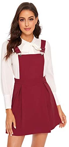 Women's Cute A Line Adjustable Straps Pleated Mini Overall Pinafore Dress