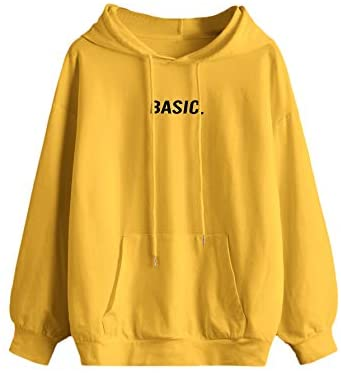 Women's Letter Graphic Print Pocket Drawstring Hoodie Sweatshirt