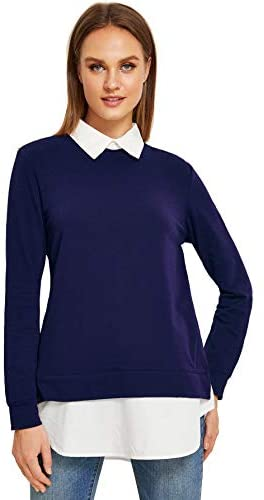 Women's Classic Collar Long Sleeve Curved Hem Pullover Sweatshirt
