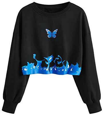 Women's Butterfly Print Crop Sweatshirt Crew Neck Casual Pullover Tops