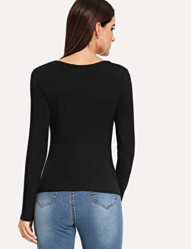 Women's Solid Long Sleeve Slim Fit Blouse Tee T-Shirt Top