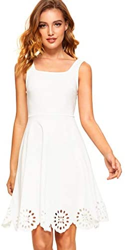 Women's A Line Swing Sleeveless Scalloped Flare Cocktail Party Dress