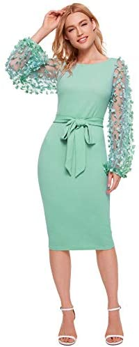 Women's Elegant Mesh Contrast Bishop Sleeve Bodycon Pencil Dress