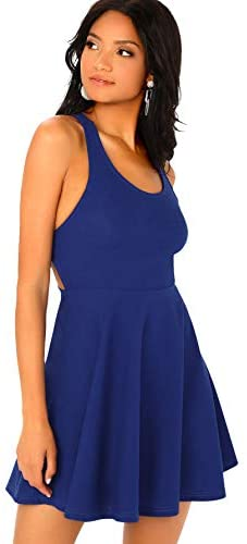 Women's Scoop Neck Backless Criss Cross Sleeveless Flare A-Line Party Dress Royal Blue