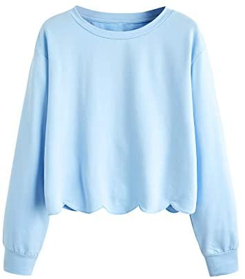 Women's Casual Long Sleeve Scalloped Hem Crop Tops Sweatshirt
