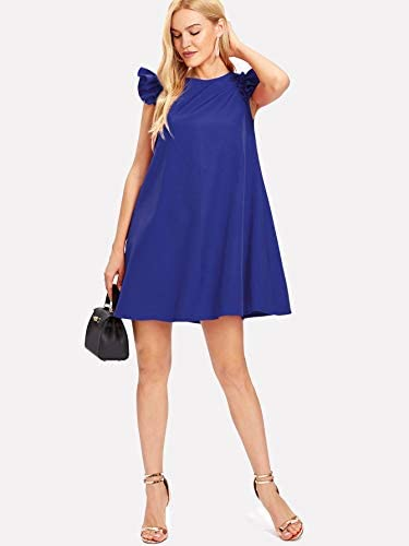 Women's Ruffle Trim Sleeve Summer Beach A Line Loose Swing Dress