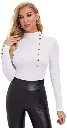 Women's Ribbed Knit Long Sleeve Lettuce Trim Mock Neck Slim Fit Tops T Shirt