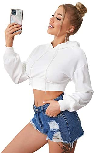 Women's Long Sleeve Casual Sweatshirt Drawstring Solid Crop Hoodies