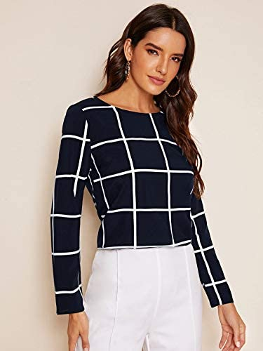 Women's Round Neck Long Sleeve Button Curved Hem Grid Top Blouses