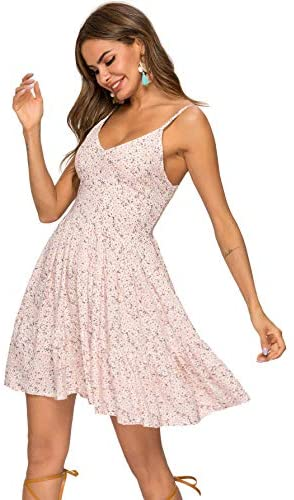 Women's High Waist Fit and Flare Vneck Floral Spaghetti Strap Cami Dress