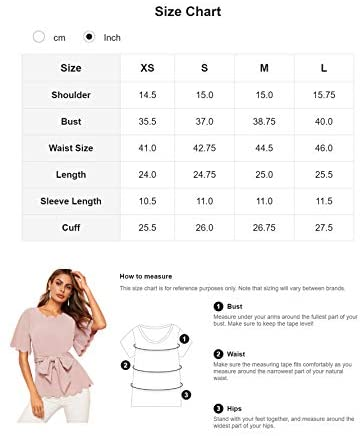 Women's Bow Self Tie Scalloped Cut Out Short Sleeve Elegant Office Work Tunic Blouse Top