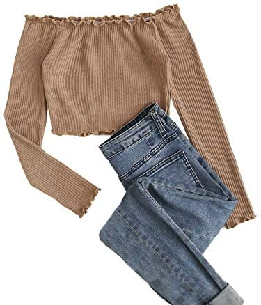 Women's Off Shoulder Long Sleeve Tshirts Frill Rib-Knit Plain Crop Tee Top