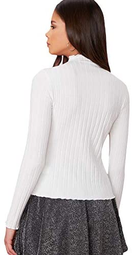 Women's Ribbed Mock Turtleneck Slim Fit Top Long Sleeve Knit Tee Shirt