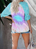 Women's Casual Long Sleeve Tie Dye Printed Sweatshirt Loose Pullover Tops