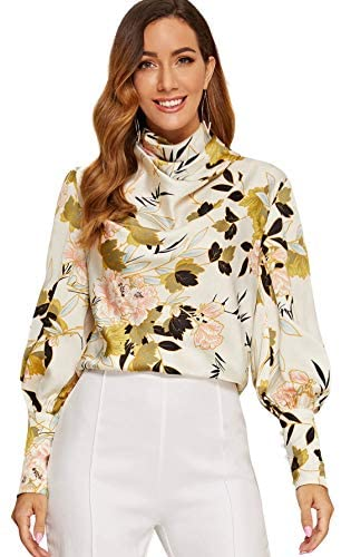 Women's Floral Chiffon High Neck Blouse Elegant Draped Neck Long Sleeve