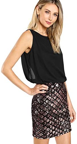 Women's Sexy Layered Look Fashion Club Wear Party Sparkle Sequin Tank Dress