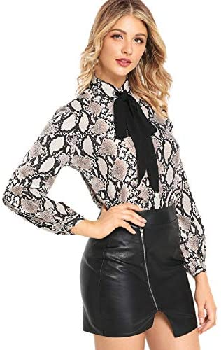 Women's Bow Tie Neck Ruffle Long Sleeve Chiffon Shirt Blouse Top