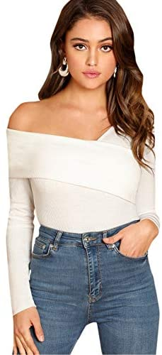 Women's Casual Cross Off Shoulder Deep V Neck Ribbed Knit Slim Wrap Tee Shirt Blouse