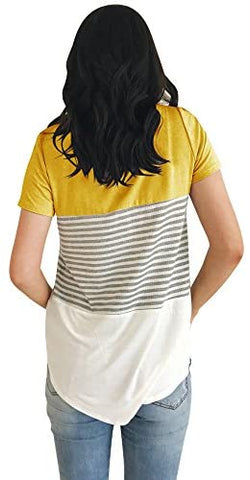 Short Sleeve Round Neck Triple Color Block Stripe T-Shirt Casual Blouse Yellow