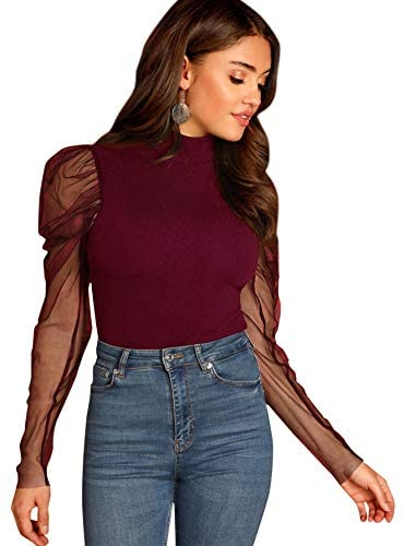 Women's Mesh Puff Sleeve High Neck Slim Fit Party Blouse Top