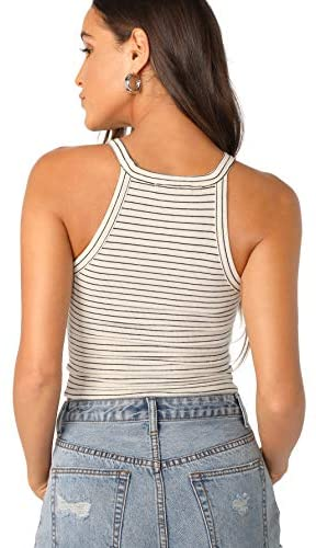 Women's Sexy Sleeveless Basic Halter Striped Rib Knit Cami Crop Tops