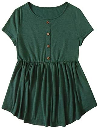 Women's Casual Button Down Short Sleeve Ruffle Hem Peplum Tee Tops Blouse