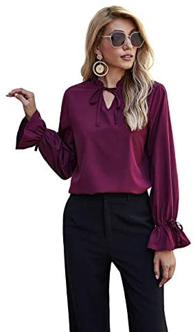 Women's Elegant Vintage Bow Tie Ruffle Mock Neck Lantern Sleeve Working Blouse Tops Shirt