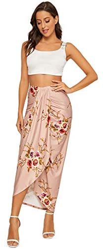 Women's Floral Slit Wrap Asymmetrical Elastic High Waist Maxi Draped Skirt