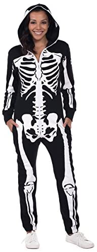 Tipsy Elves' Women's Skeleton Costume - Scary Black and White Halloween Jumpsuit