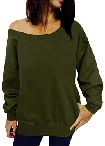 Women's Off Shoulder Casual Sweatshirt Pullover Long Sleeve Slouchy Shirt Top Blouse