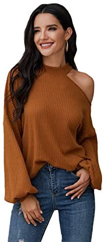 Women's Waffle Knit Tunic Tops Cold Shoulder Long Sleeve Loose Blouse Shirts
