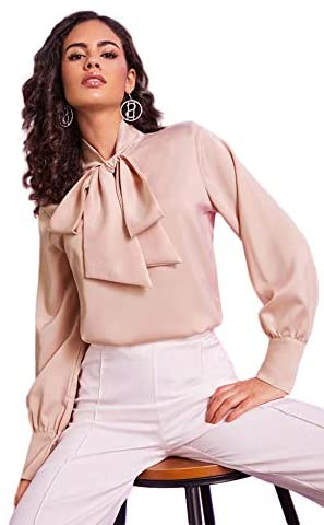 Women's Long Sleeve Tie Neck Shirt Satin Solid Pullover Work Blouse Top
