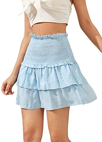 Women's Solid Shirred High Waist Layered Ruffle Hem Flared Mini Skirt