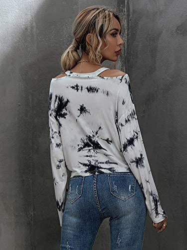 Women's Tie Dye Cold Shoulder Knot Front Long Sleeve Crop Tops T Shirts Tee