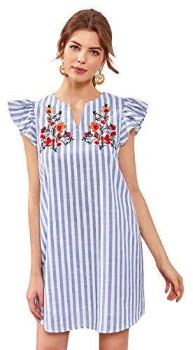 Women's V Neck Striped Floral Ruffle Embroidery Cotton Summer Boho Dress Top