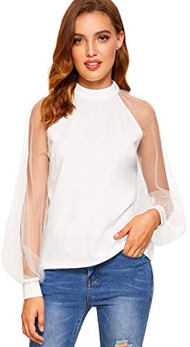 Women's Mesh Sheer Long Sleeve Puff Solid Loose Party Blouse Tops