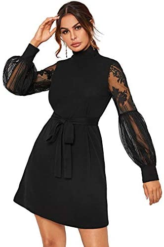 Women's Mesh Bishop Sleeve Mock Neck Solid Tunic Elegant Short Dress