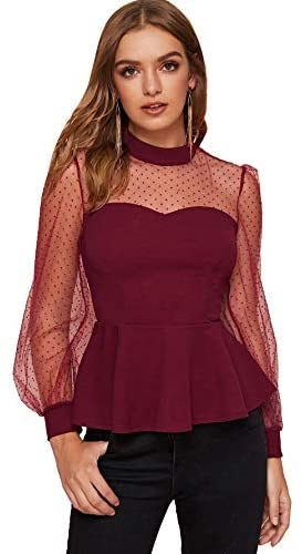 Women's Mesh Sleeve Mock Neck Ruffle Slim Fit Peplum Blouse
