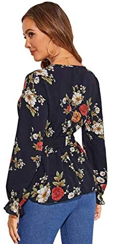 Women's Floral Print Deep V Neck Long Sleeve Ruffle Hem Belt Peplum Blouse Top