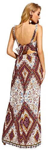 Women's Sleeveless V-Neck Split Cutout Tie Back Tribal Print Maxi Dress