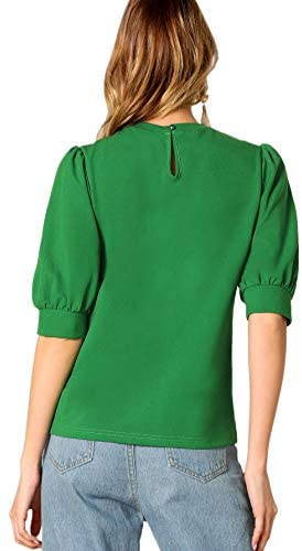 Puff Sleeve Casual Solid Top Pullover Keyhole Back Blouse Green