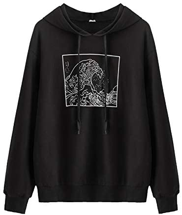 Women's Casual The Great Wave Off Kanagawa Sweatshirt Drawstring Hoodie Pullover